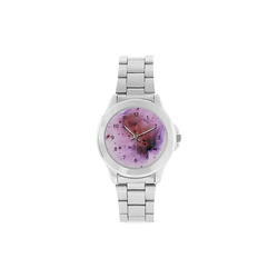 Pink Star Cluster Unisex Stainless Steel Watch(Model 103)