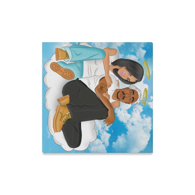 "Aaliyah and 2 Pac Canvas Print 16""x16"""