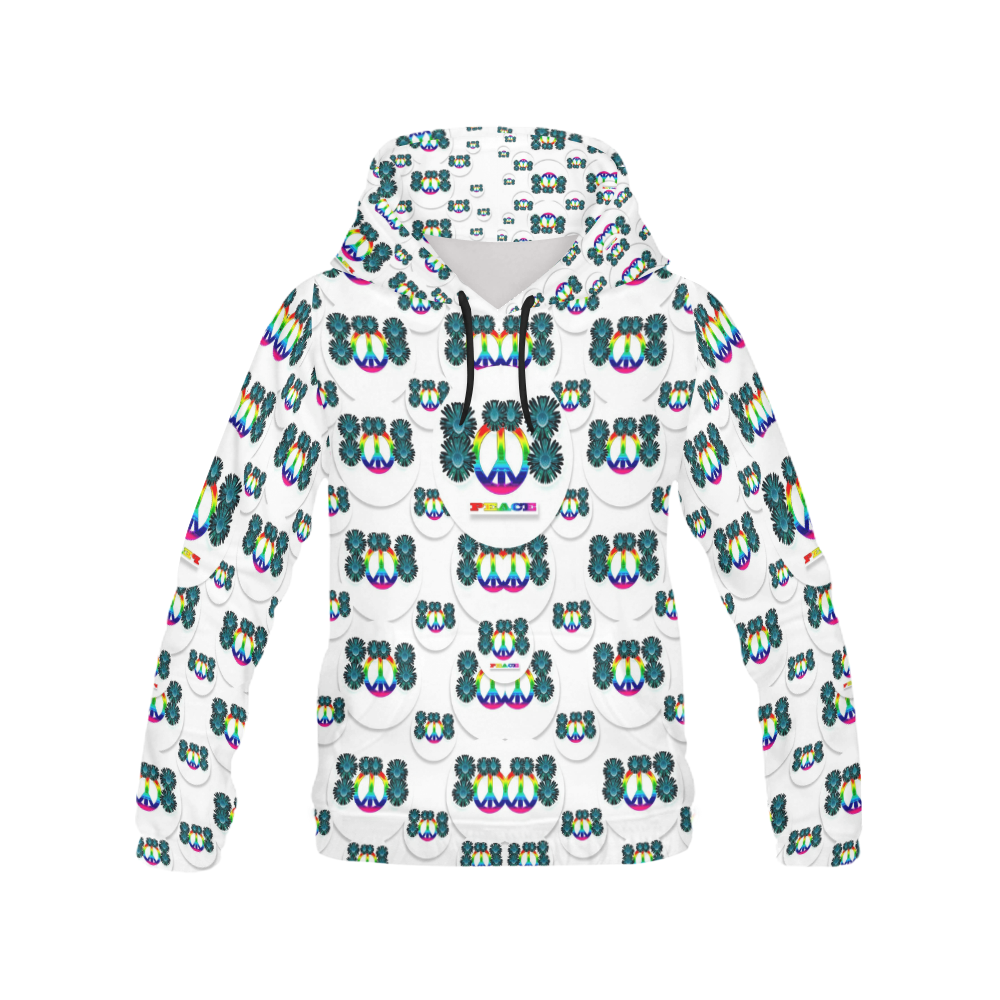 peace is us in love All Over Print Hoodie for Women (USA Size) (Model H13)