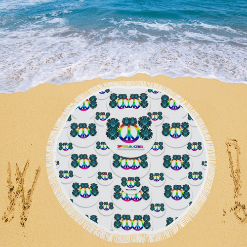 "peace is us in love Circular Beach Shawl 59""x 59"""