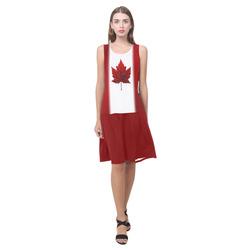 Canada Flag Dresses Classic Canada Dress Sleeveless Splicing Shift Dress(Model D17)
