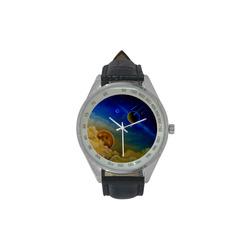 Cosmic Illumination Men's Leather Strap Analog Watch(Model 209)