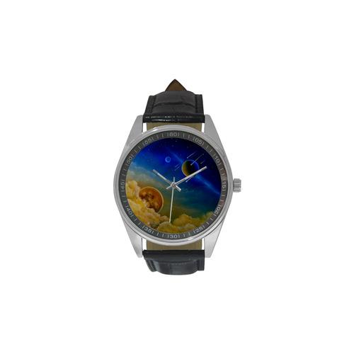 Cosmic Illumination Men's Casual Leather Strap Watch(Model 211)
