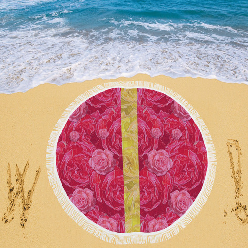 "Rose and roses and another rose Circular Beach Shawl 59""x 59"""