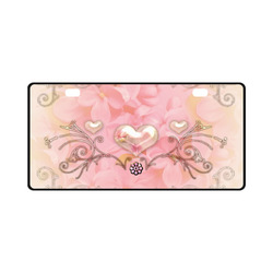 Hearts, soft colors License Plate