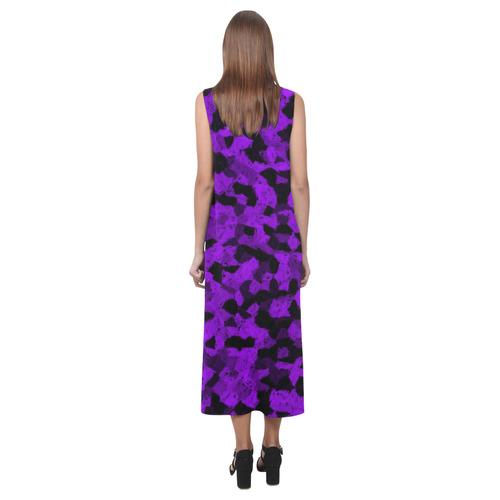 Black and Purple Chalk Phaedra Sleeveless Open Fork Long Dress (Model D08)