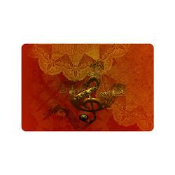 """Music, clef in golden metal Doormat 24"""" x 16"""""""