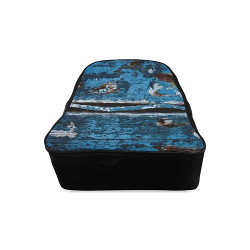Blue painted wood School Backpack/Large (Model 1601)