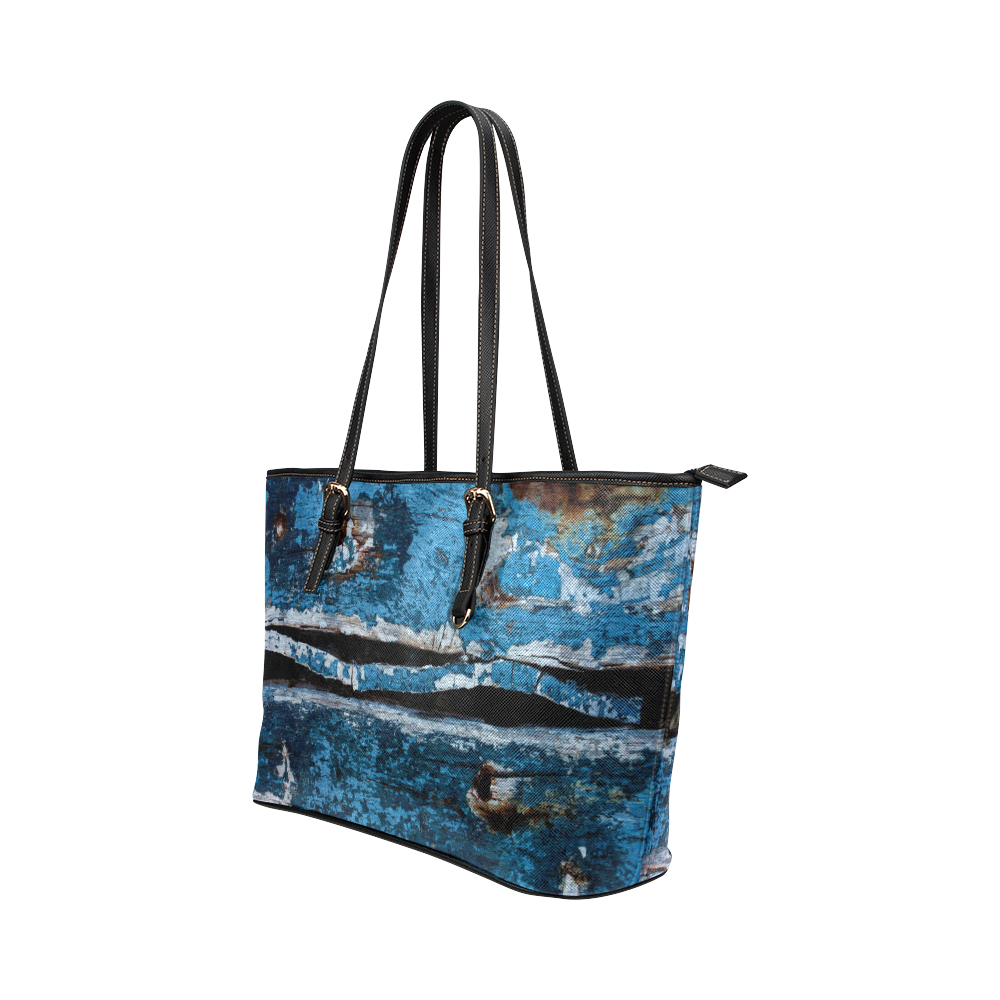 Blue painted wood Leather Tote Bag/Large (Model 1651)