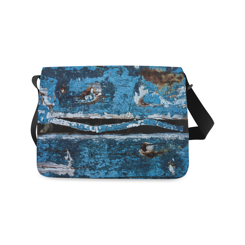 Blue painted wood Messenger Bag (Model 1628)