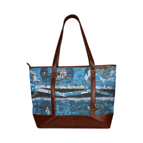 Blue painted wood Tote Handbag (Model 1642)