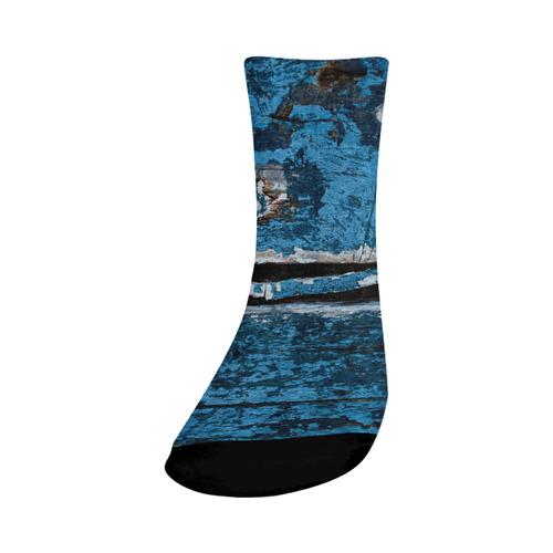 Blue painted wood Crew Socks