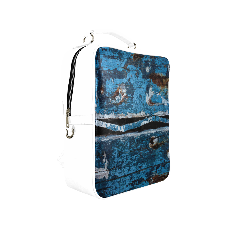 Blue painted wood Square Backpack (Model 1618)