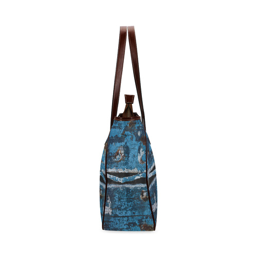 Blue painted wood Classic Tote Bag (Model 1644)
