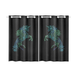 """3D Psychedelic Unicorn blue and green Kitchen Curtain 26"""" X 39"""" (Two Piece)"""