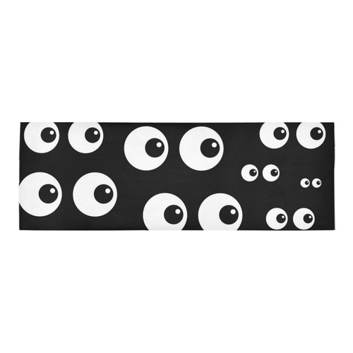 Black And White Eyes Area Rug 10'x3'3''