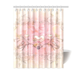 "Hearts, soft colors Shower Curtain 60""x72"""
