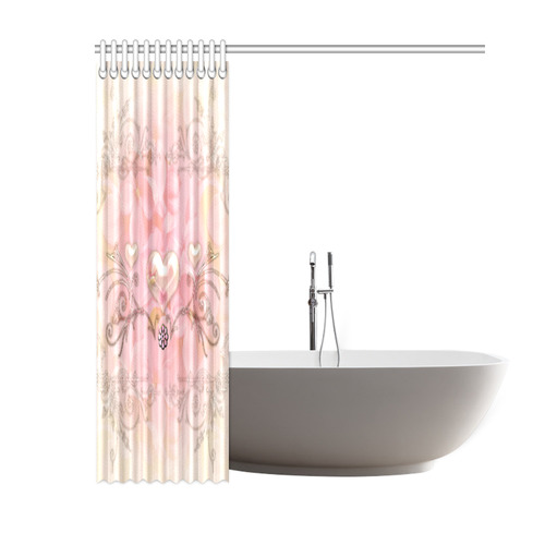 """Hearts, soft colors Shower Curtain 60""""x72"""""""