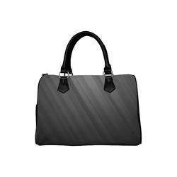 Black Dark Gray Diagonal Stripes Boston Handbag (Model 1621)