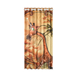 "Cute unicorn giraffe New Window Curtain 50"" x 108""(One Piece)"