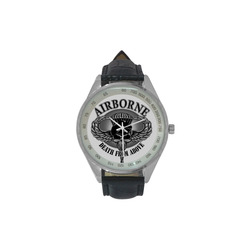 Army Airborne Death From Above Men's Leather Strap Analog Watch(Model 209)