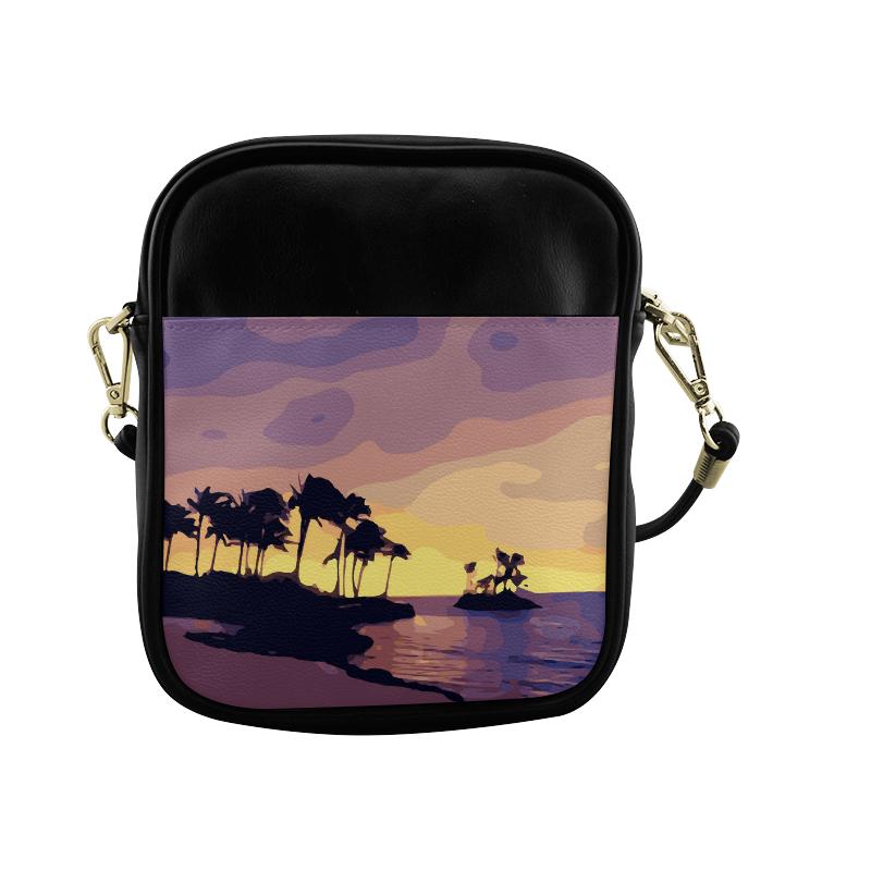 Tropical Beach Palm Trees Sunset Sling Bag (Model 1627)