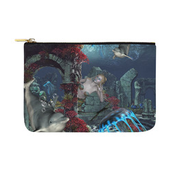 Beautiful mermaid swimming with dolphin Carry-All Pouch 12.5''x8.5''