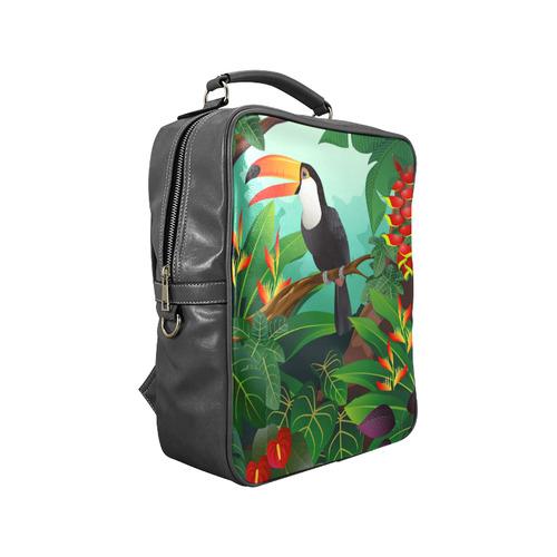 Toucan Tropical Jungle Floral Landscape Square Backpack (Model 1618)