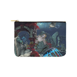 Beautiful mermaid swimming with dolphin Carry-All Pouch 9.5''x6''