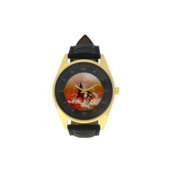 The wild horse Men's Golden Leather Strap Watch(Model 210)