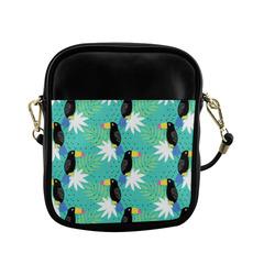 Glitter Toucans Tropical Leaves Sling Bag (Model 1627)