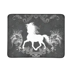 """Horse, black and white Beach Mat 78""""x 60"""""""