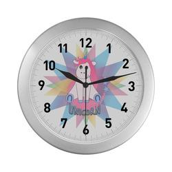Cartoon Unicorn, Fantasy Design Silver Color Wall Clock