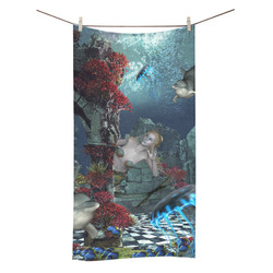 "Beautiful mermaid swimming with dolphin Bath Towel 30""x56"""