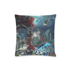 """Beautiful mermaid swimming with dolphin Custom Zippered Pillow Case 16""""x16""""(Twin Sides)"""