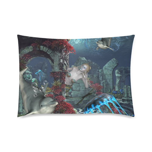 """Beautiful mermaid swimming with dolphin Custom Zippered Pillow Case 20""""x30""""(Twin Sides)"""
