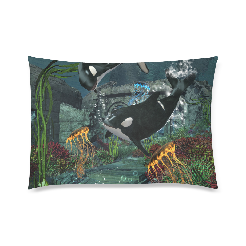 "Amazing orcas Custom Zippered Pillow Case 20""x30""(Twin Sides)"