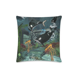 """Amazing orcas Custom Zippered Pillow Case 16""""x16""""(Twin Sides)"""