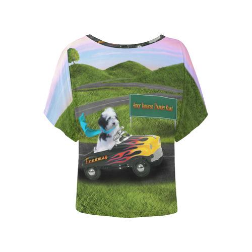 Freeway Sunset Women's Batwing-Sleeved Blouse T shirt (Model T44)