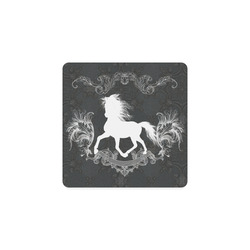 Horse, black and white Square Coaster