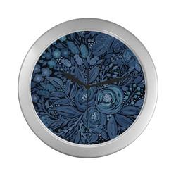 Watercolor Night garden Silver Color Wall Clock