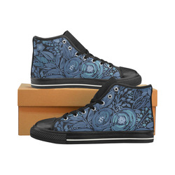Watercolor Night garden High Top Canvas Women's Shoes/Large Size (Model 017)