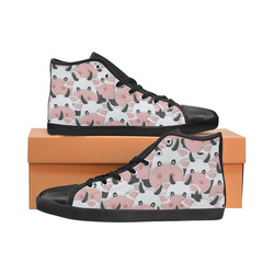 Herd of Cartoon Cows High Top Canvas Women's Shoes/Large Size (Model 002)