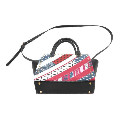 Red white blue pattern Rivet Shoulder Handbag (Model 1645)