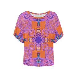 Geometric Purple within Orange Cross Women's Batwing-Sleeved Blouse T shirt (Model T44)
