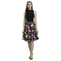 Colorful Butterflies Black Edition Melete Pleated Midi Skirt (Model D15)