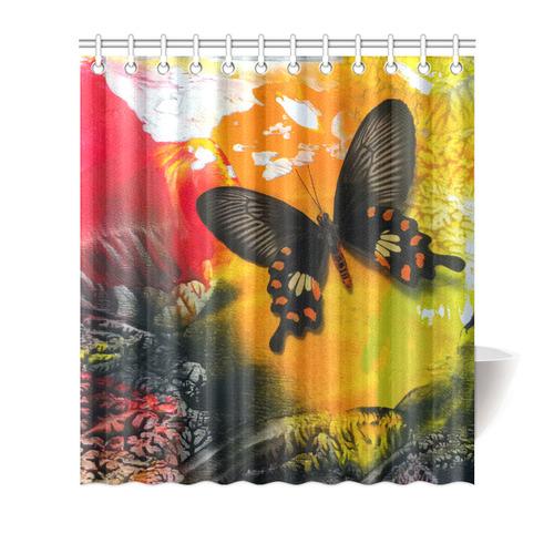 "Butterfly shower curtain Shower Curtain 66""x72"""