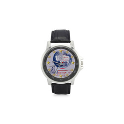 WOLF PACK WYOMING Unisex Stainless Steel Leather Strap Watch(Model 202)