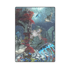 """Beautiful mermaid swimming with dolphin Blanket 58""""x80"""""""