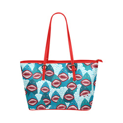 Angry Sharks Leather Tote Bag/Large (Model 1651)